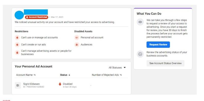 бан рекламного аккаунта фейсбук